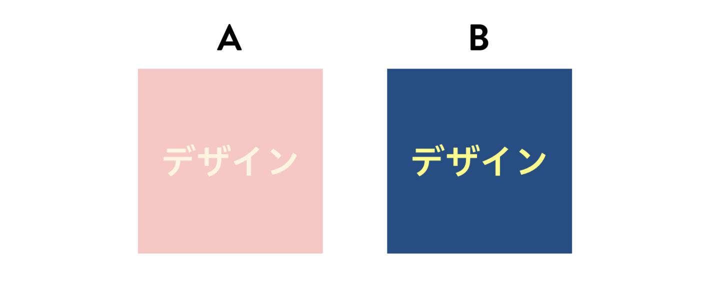 A:ピンクの背景に淡いピンクの文字 B:紺色の背景に黄色の文字