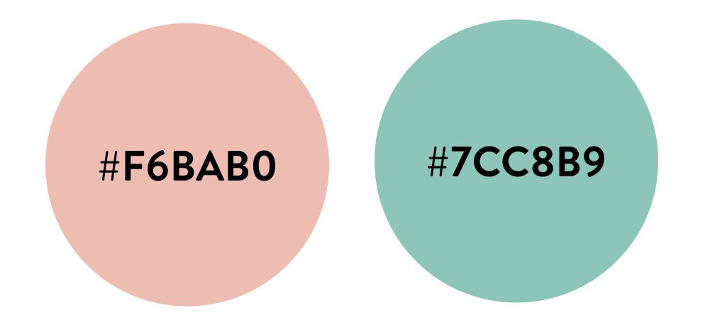 パステルピンク(#F6BAB0)とミントグリーン(#7CC8B9)