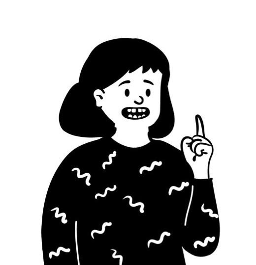 イラスト:人差し指を立ててポイントを話している人