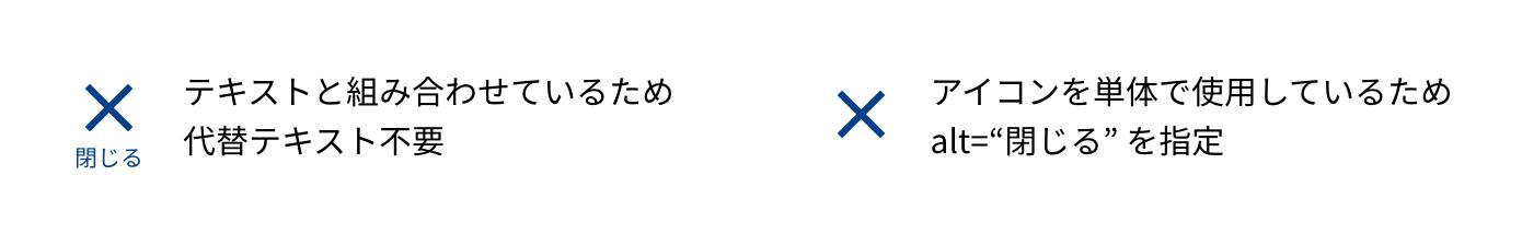 """図:X 型のアイコンに「閉じる」というテキストが組み合わされている場合は、代替テキスト不要。アイコンが単体で使用される場合は alt=""""閉じる"""" を指定する。"""