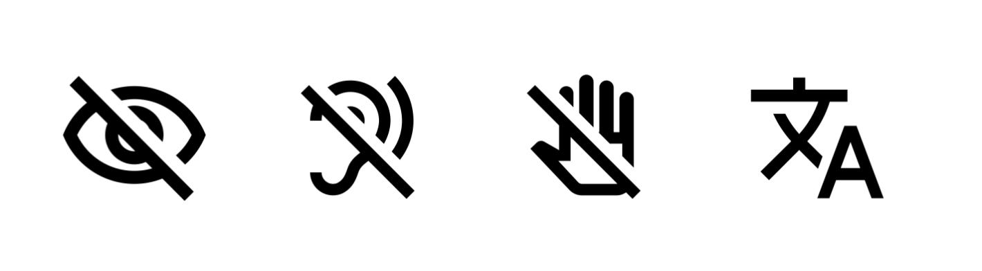 イラスト:見えない、聞こえない、手が使えない、翻訳を表した4つのピクトグラム